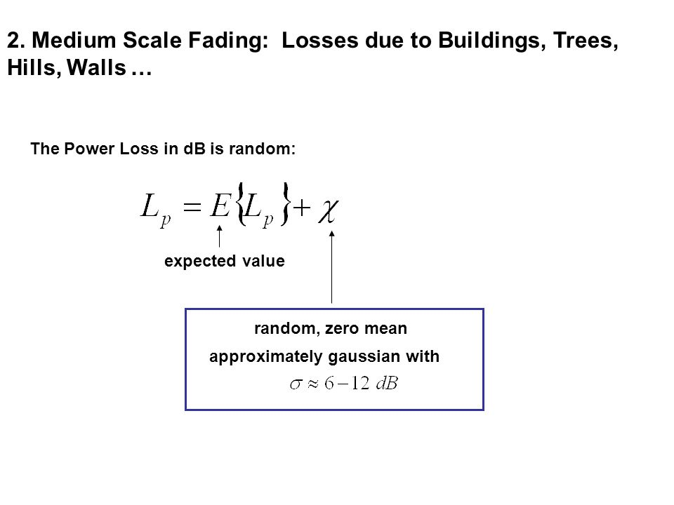 2. Medium Scale Fading: Losses due to Buildings, Trees, Hills, Walls …