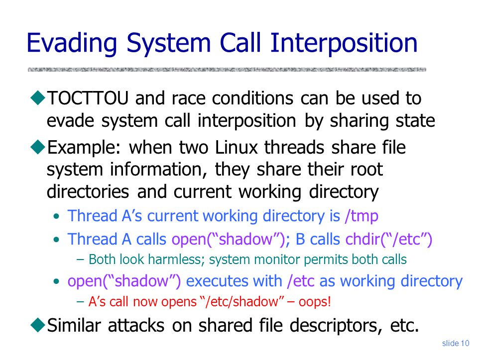 Evading System Call Interposition