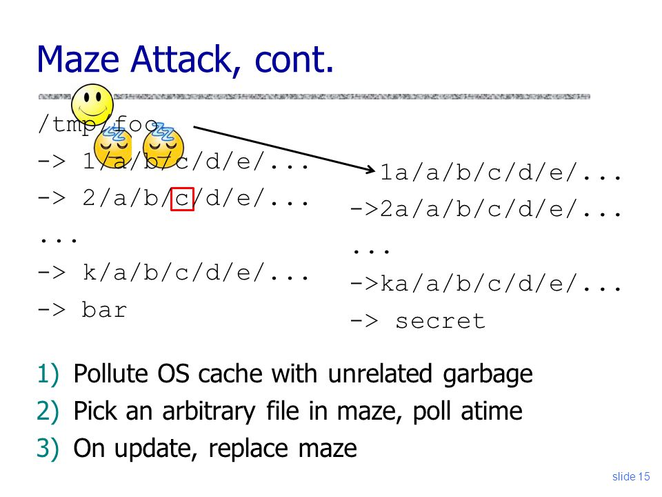 Maze Attack, cont. /tmp/foo -> 1/a/b/c/d/e/... 1a/a/b/c/d/e/...