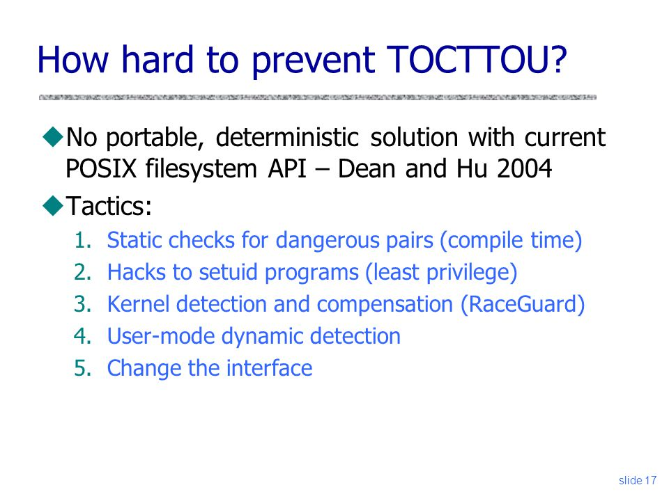 How hard to prevent TOCTTOU