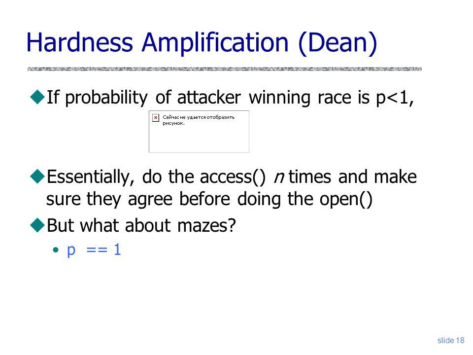Hardness Amplification (Dean)