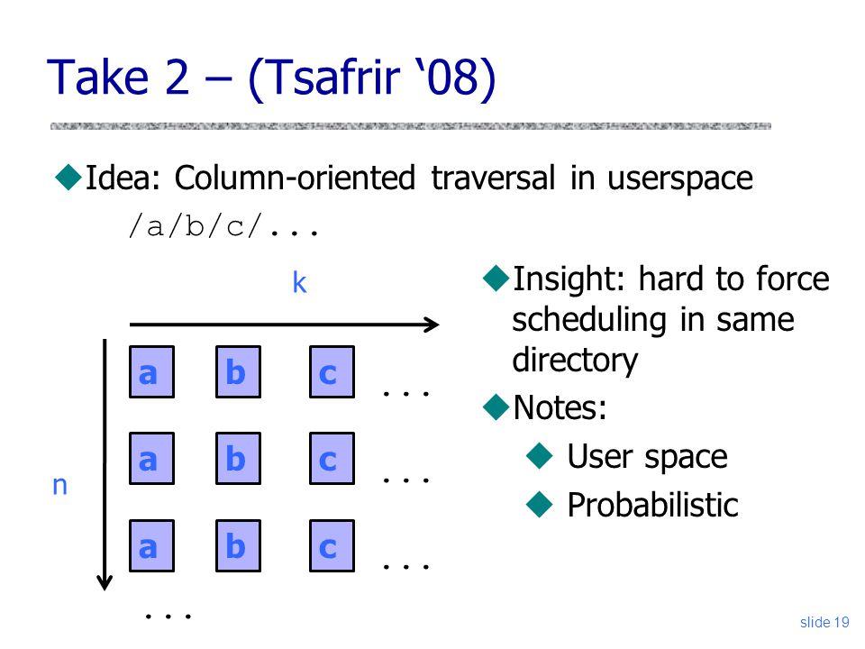Take 2 – (Tsafrir '08) Idea: Column-oriented traversal in userspace