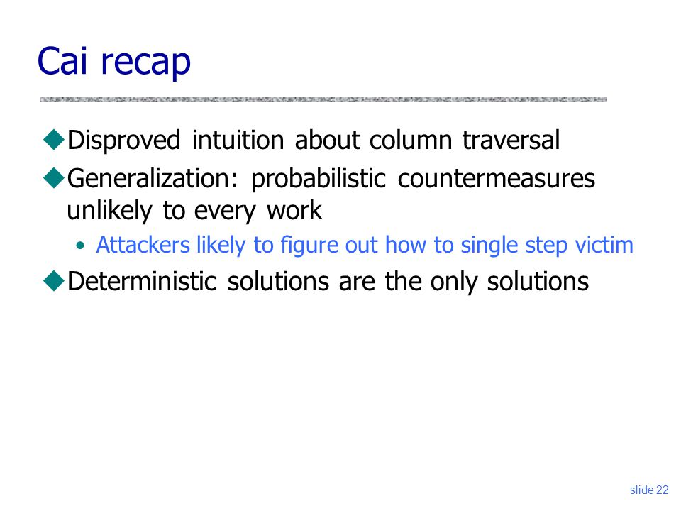 Cai recap Disproved intuition about column traversal