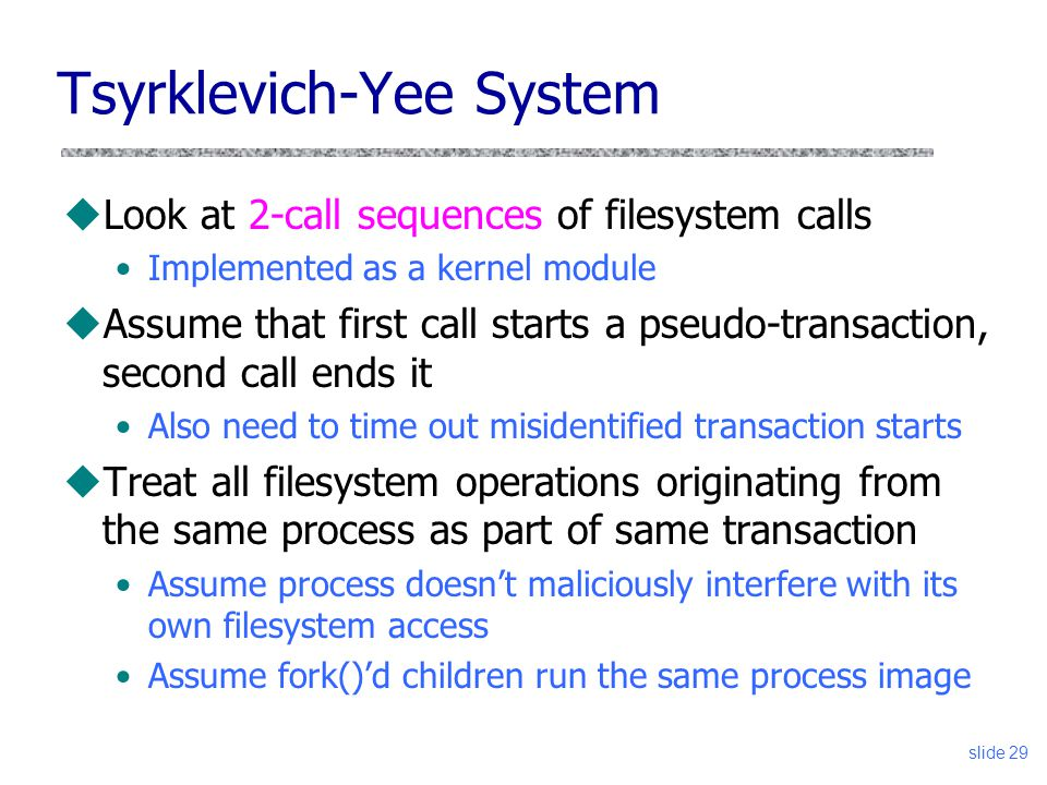 Tsyrklevich-Yee System