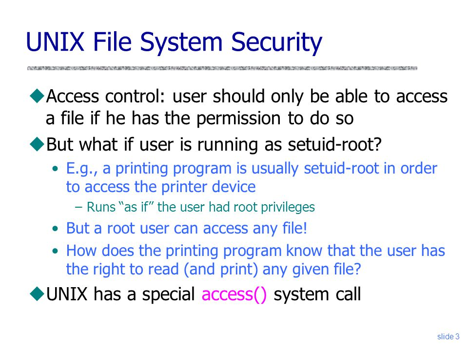 UNIX File System Security
