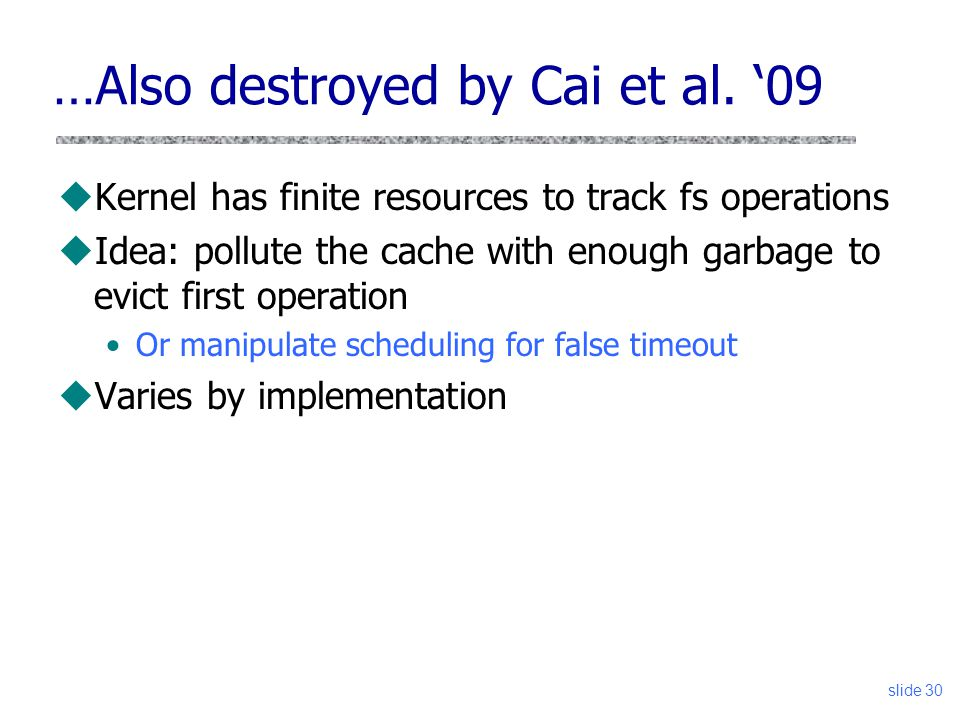 …Also destroyed by Cai et al. '09