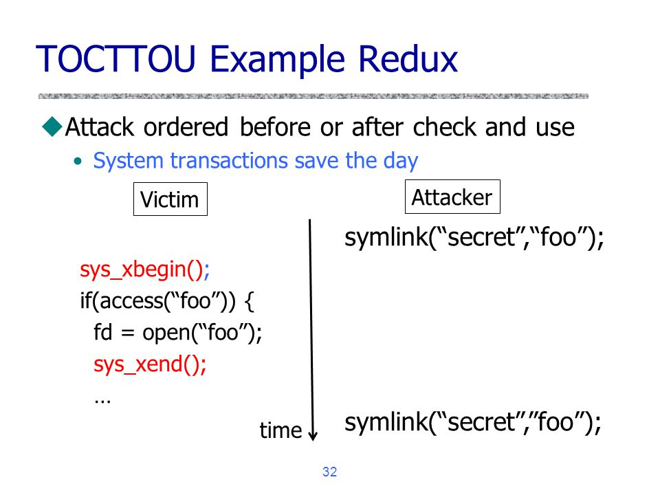 TOCTTOU Example Redux Attack ordered before or after check and use