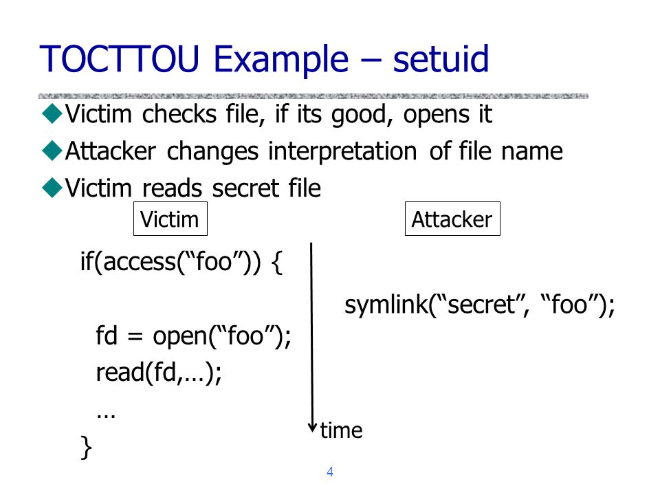 TOCTTOU Example – setuid