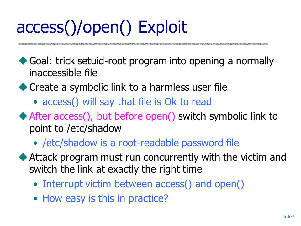 access()/open() Exploit