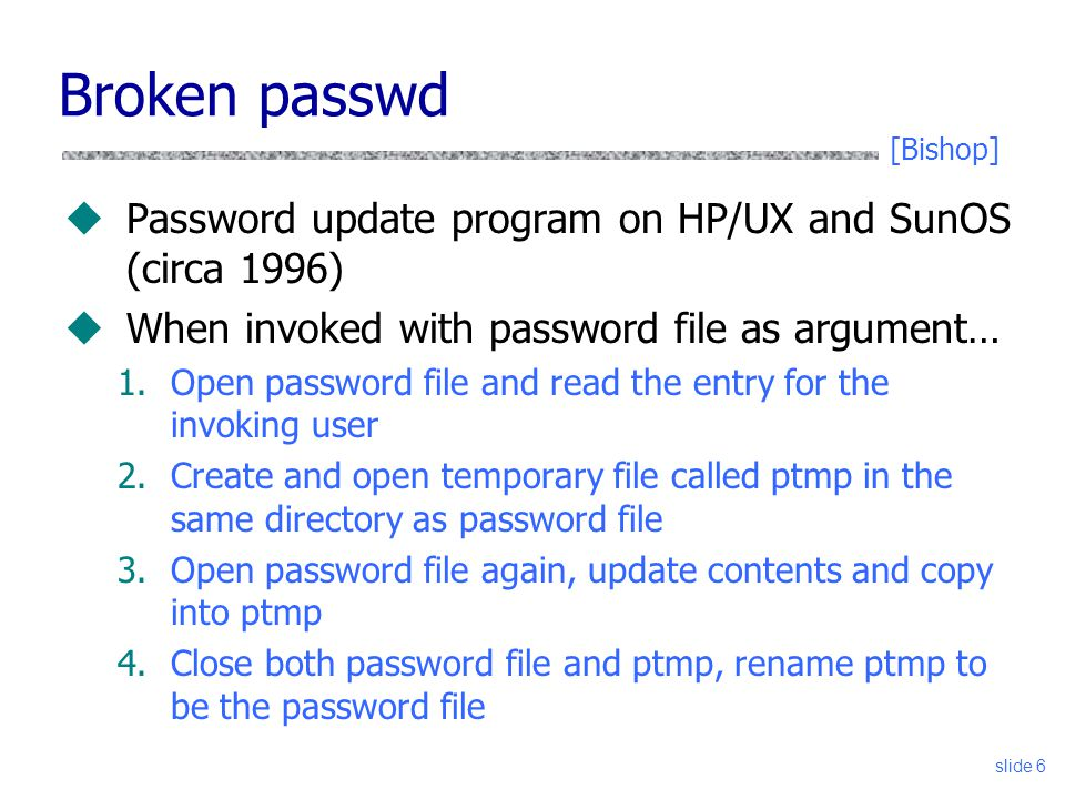 Broken passwd Password update program on HP/UX and SunOS (circa 1996)