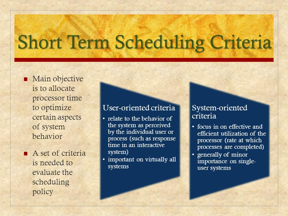 Short Term Scheduling Criteria