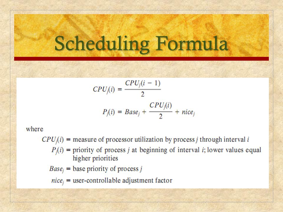 Scheduling Formula The priority of each process is recomputed once per second, at which time a.