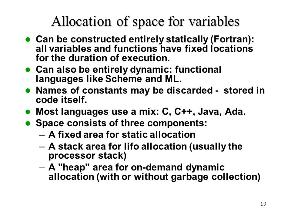 Allocation of space for variables