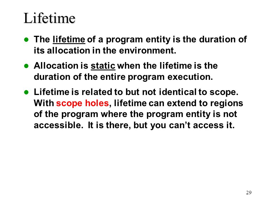 Lifetime The lifetime of a program entity is the duration of its allocation in the environment.