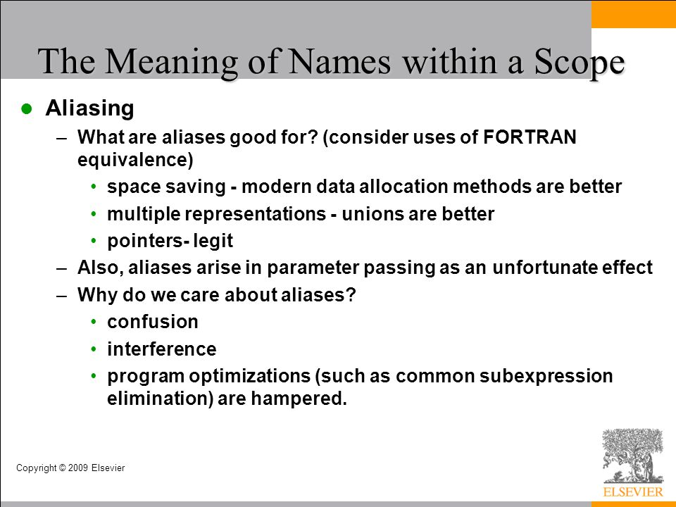 The Meaning of Names within a Scope