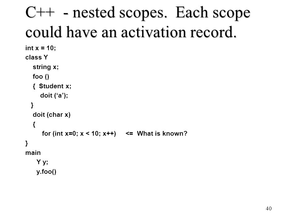 C++ - nested scopes. Each scope could have an activation record.