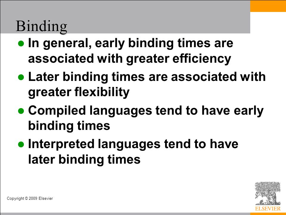 Binding In general, early binding times are associated with greater efficiency. Later binding times are associated with greater flexibility.