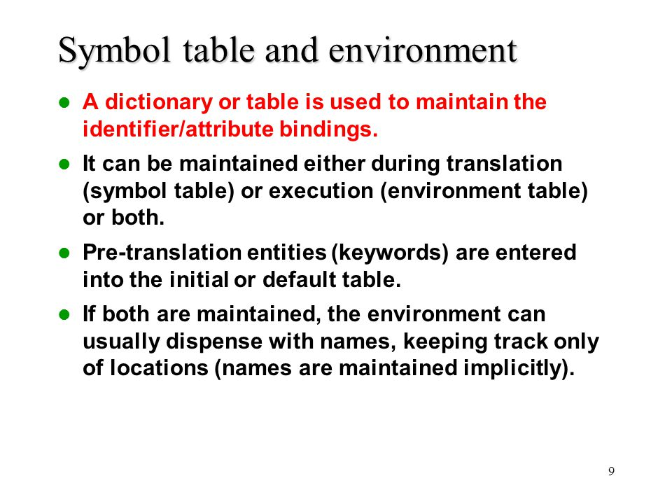 Symbol table and environment