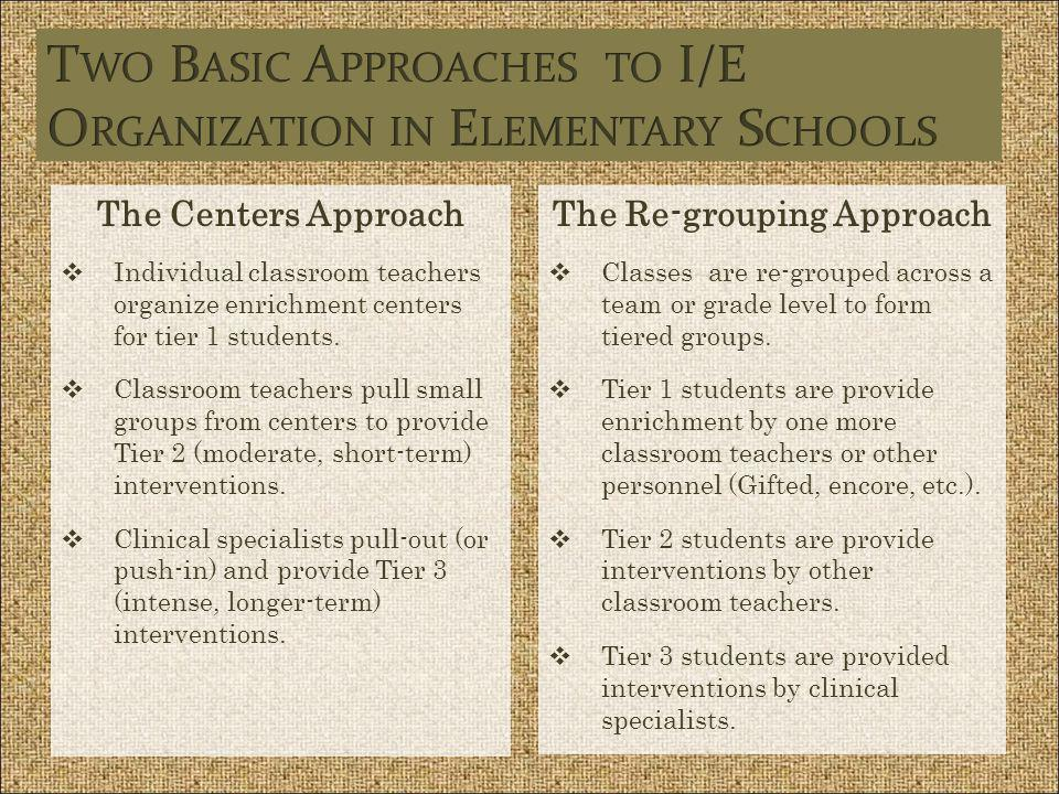 Two Basic Approaches to I/E Organization in Elementary Schools