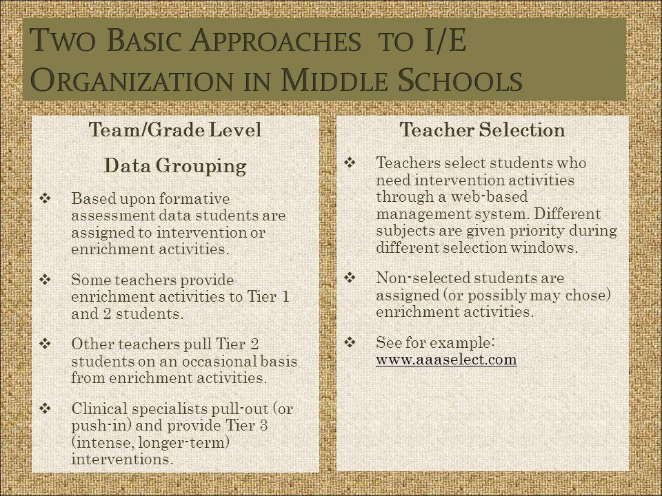 Two Basic Approaches to I/E Organization in Middle Schools
