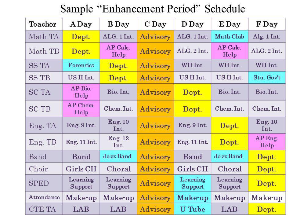 Sample Enhancement Period Schedule