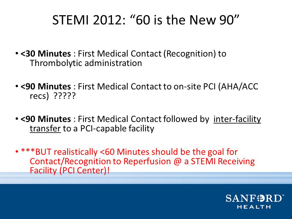 STEMI 2012: 60 is the New 90 <30 Minutes : First Medical Contact (Recognition) to Thrombolytic administration.