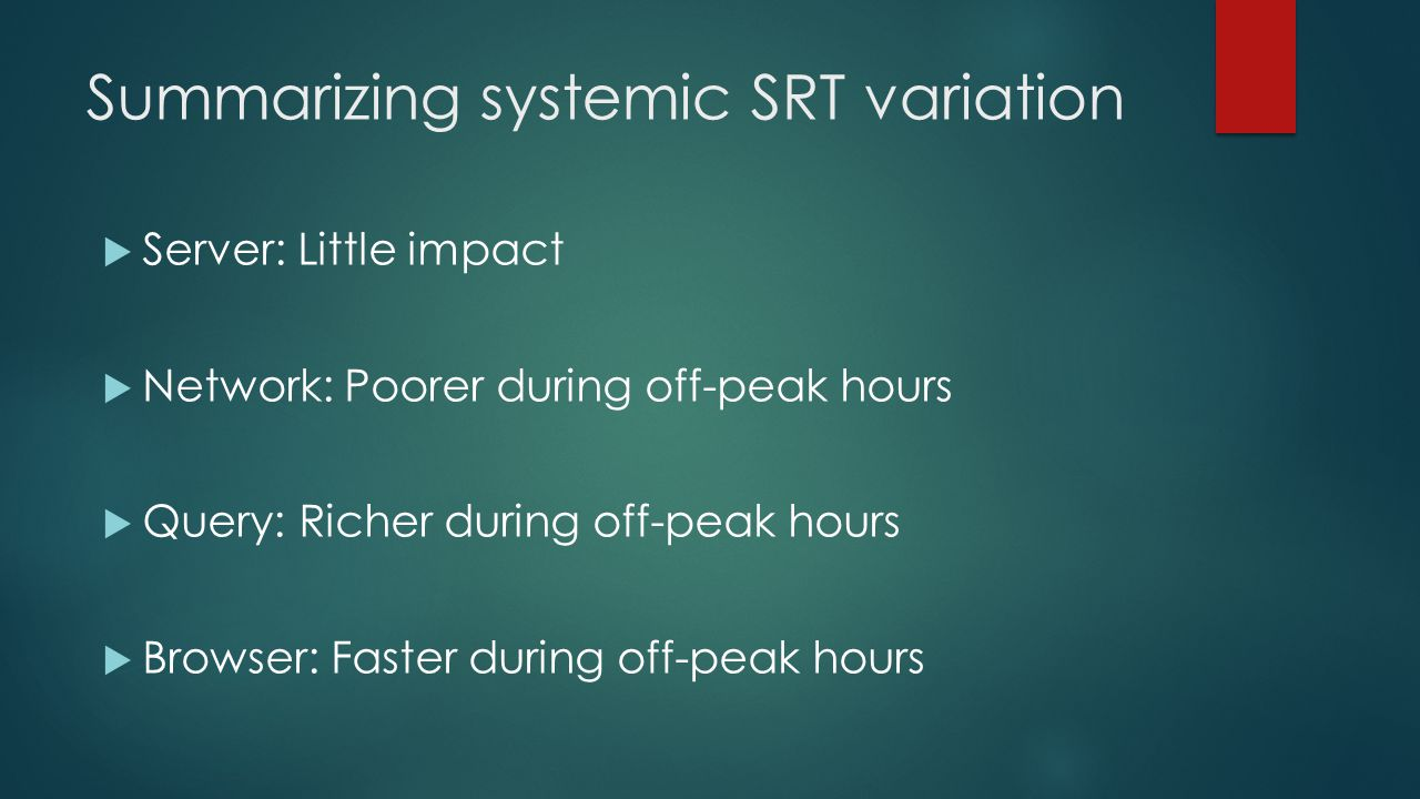 Summarizing systemic SRT variation