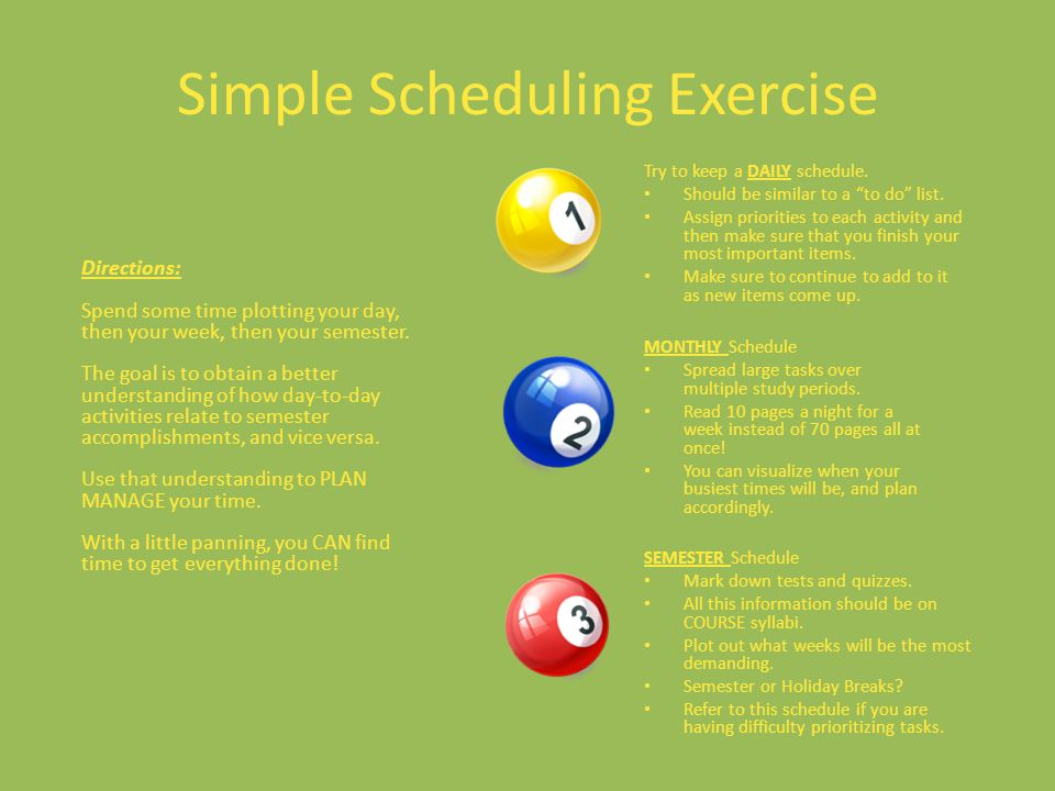 Simple Scheduling Exercise