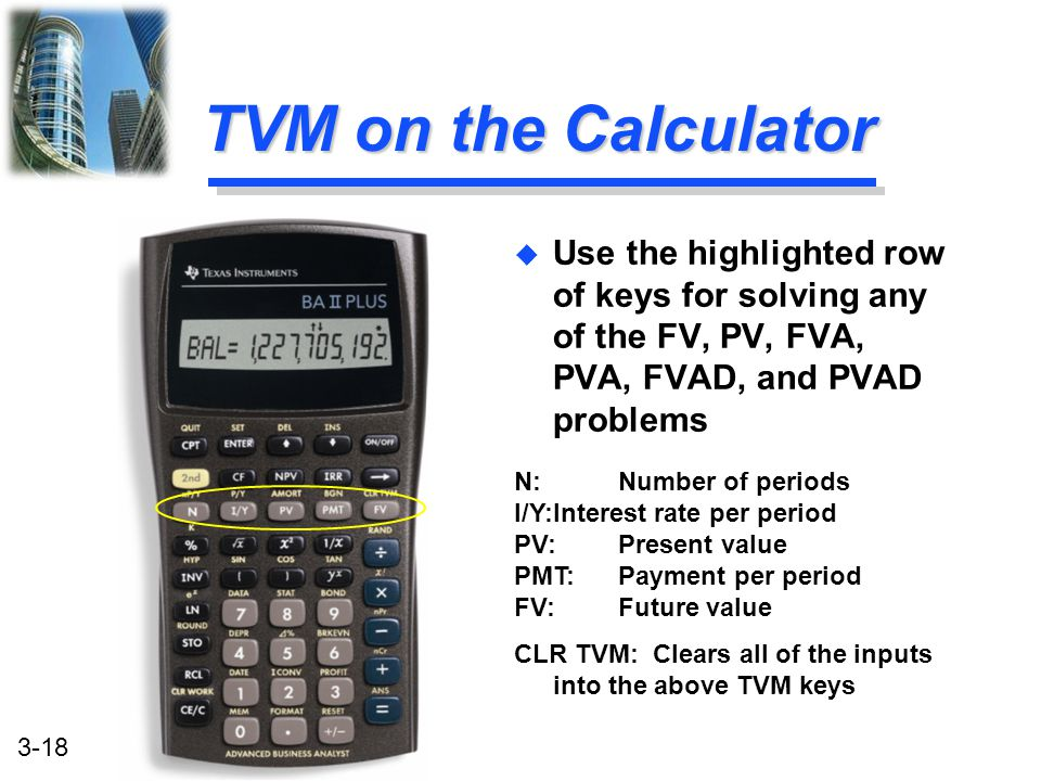 TVM on the Calculator Use the highlighted row of keys for solving any of the FV, PV, FVA, PVA, FVAD, and PVAD problems.