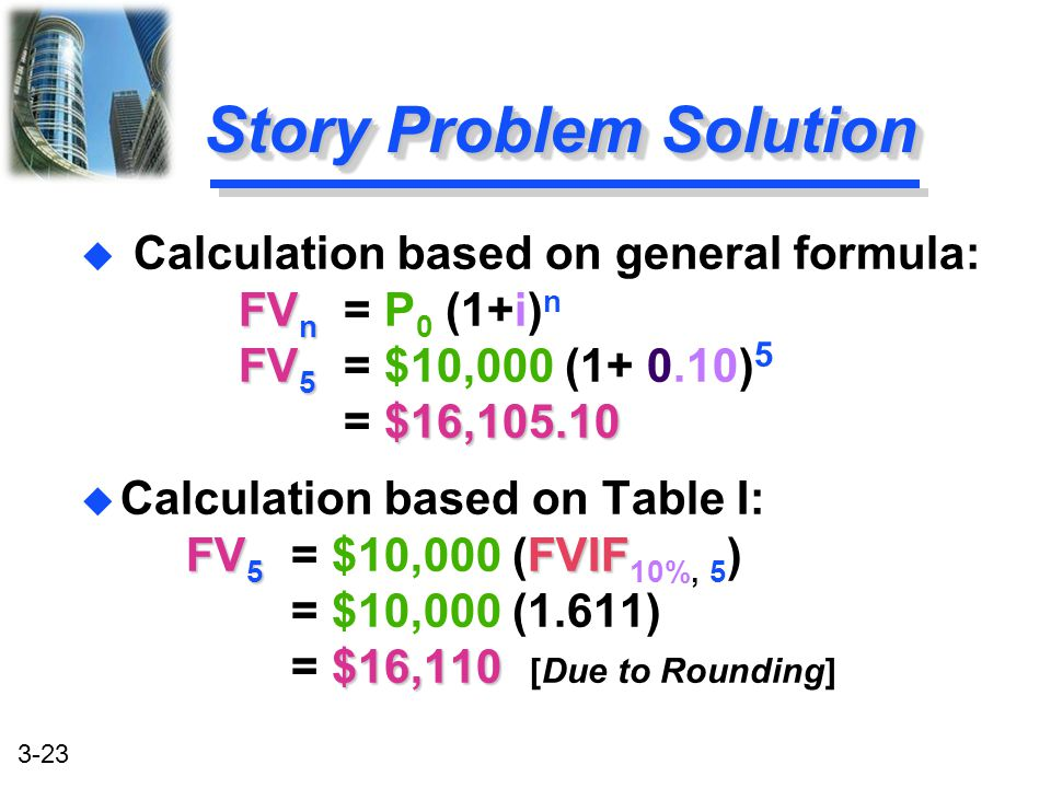 Story Problem Solution