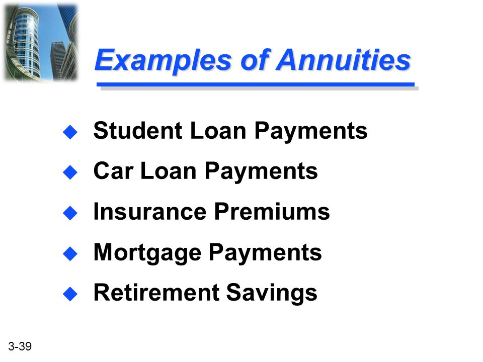 Examples of Annuities Student Loan Payments Car Loan Payments