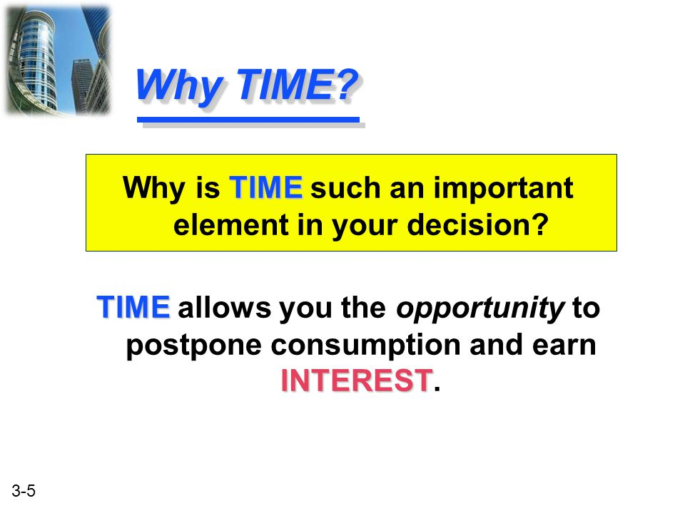 Why is TIME such an important element in your decision