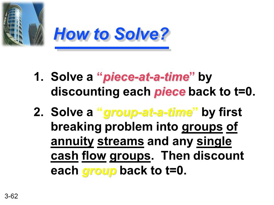 How to Solve 1. Solve a piece-at-a-time by discounting each piece back to t=0.