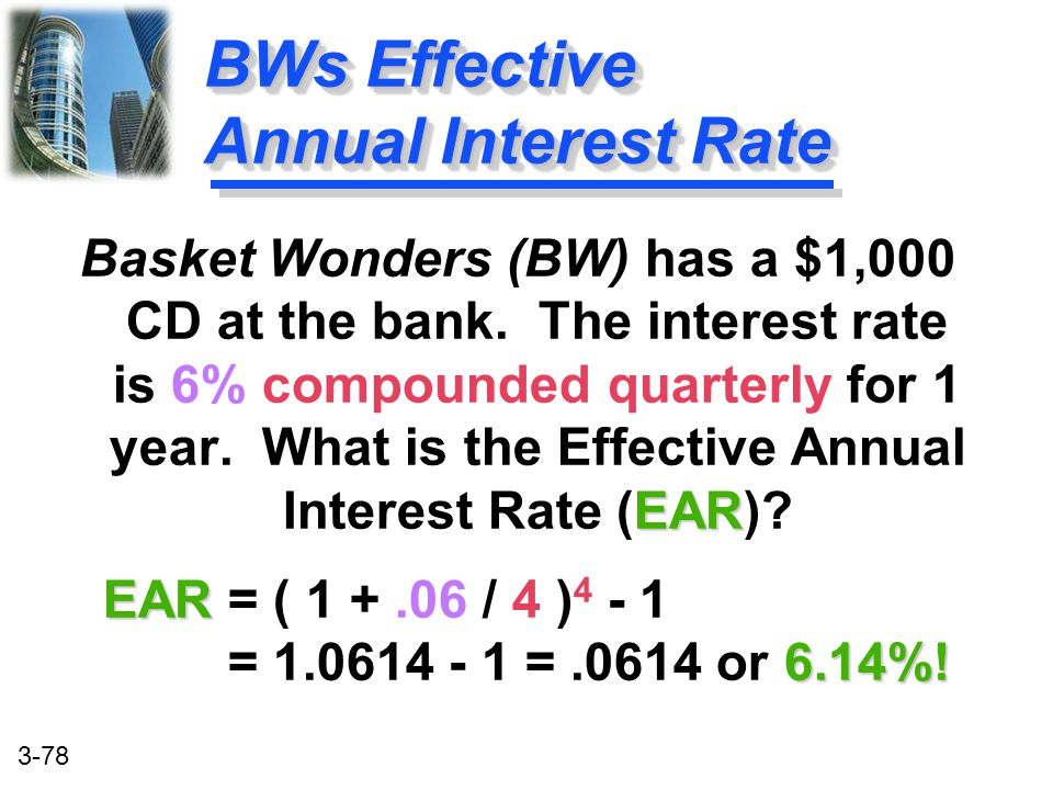BWs Effective Annual Interest Rate