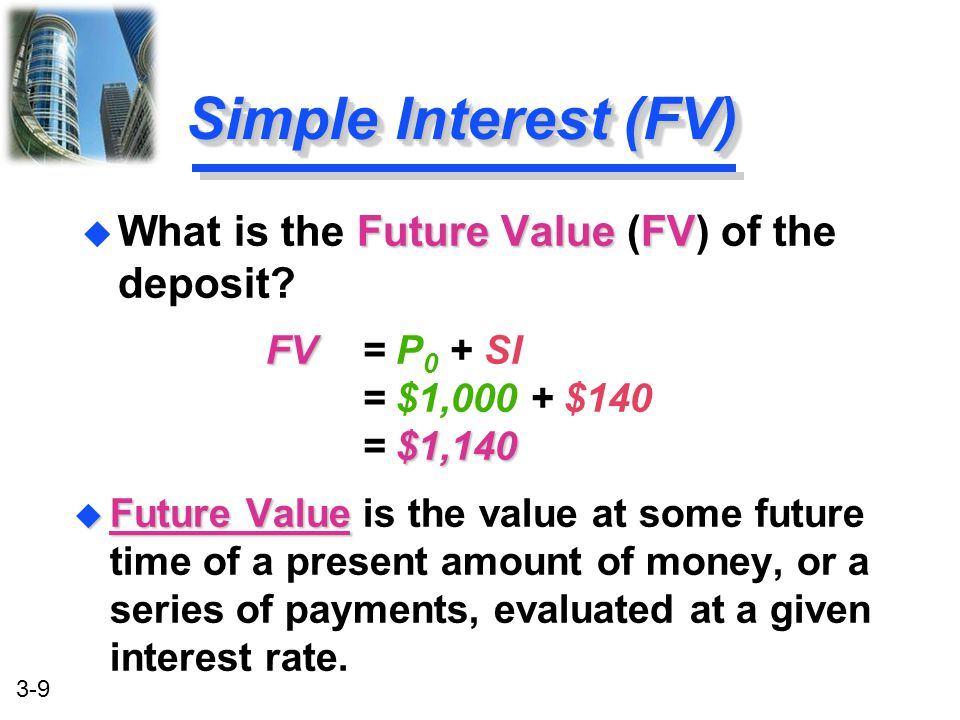 Simple Interest (FV) What is the Future Value (FV) of the deposit