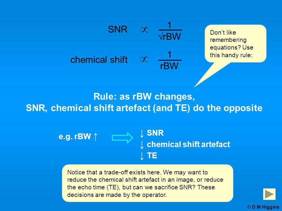 ↓ SNR ↓ chemical shift artefact ↓ TE