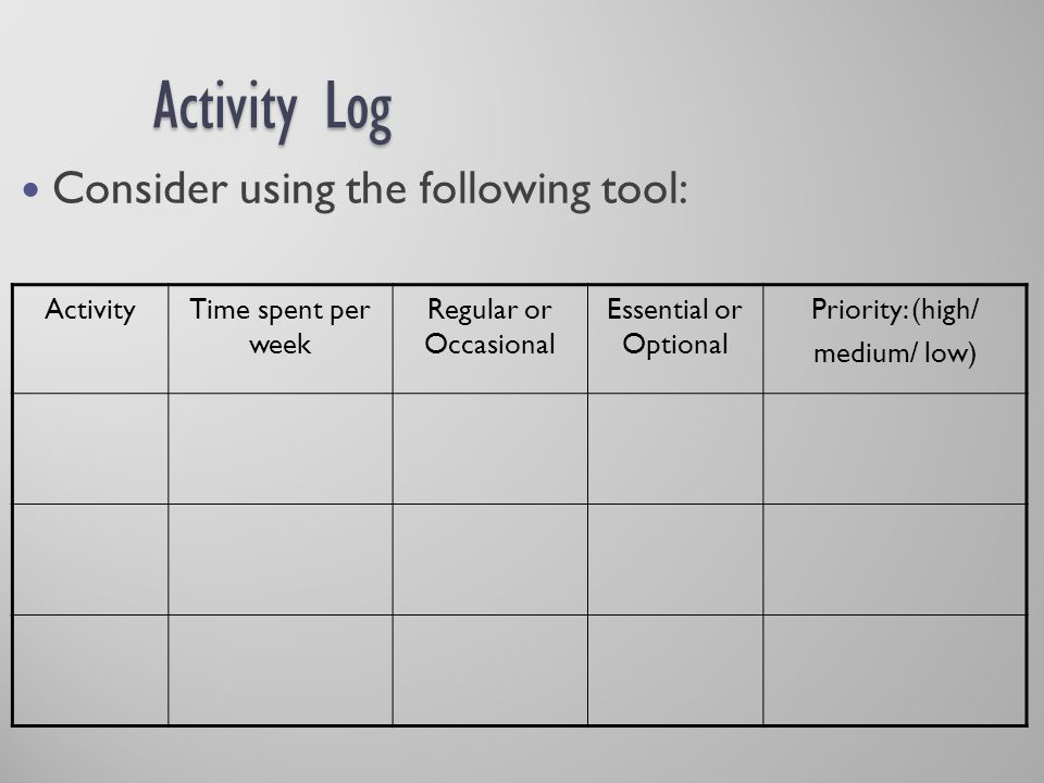 Activity Log Consider using the following tool: Activity