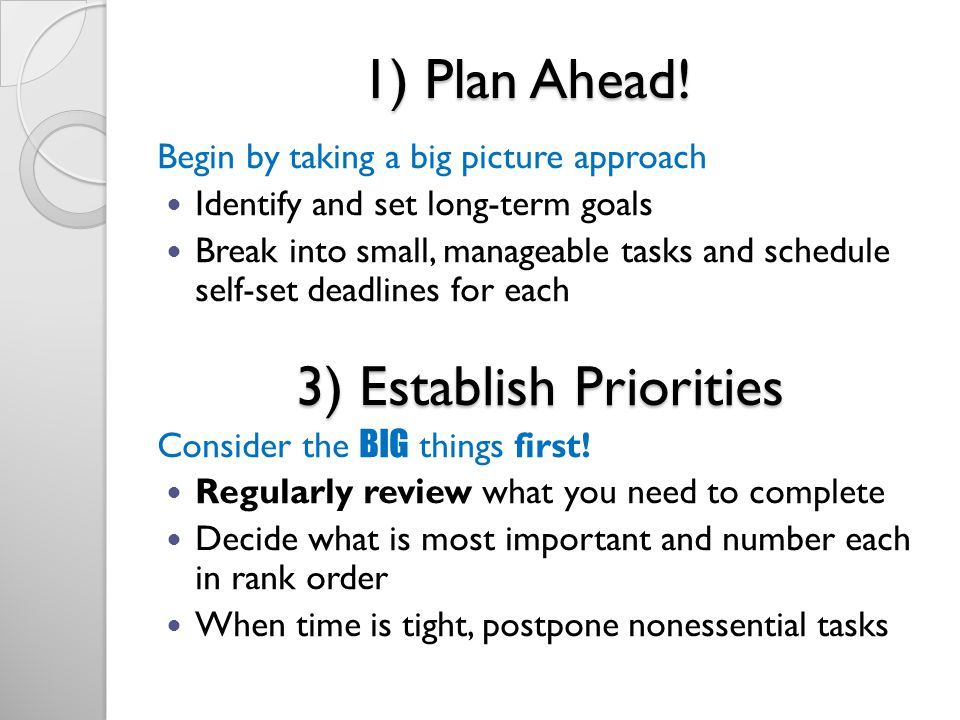 3) Establish Priorities