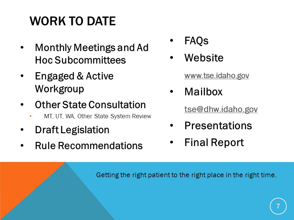Work To Date FAQs Website www.tse.idaho.gov Mailbox tse@dhw.idaho.gov