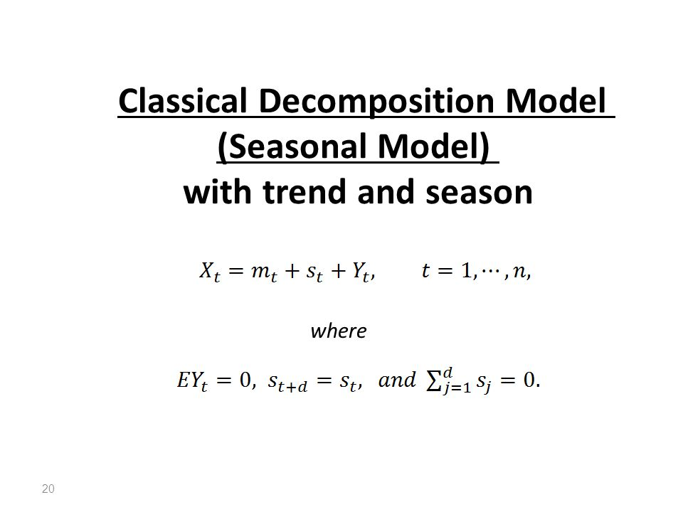 Classical Decomposition Model (Seasonal Model) with trend and season