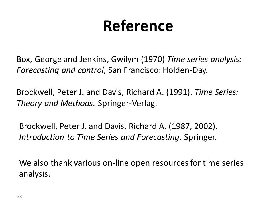 Reference Box, George and Jenkins, Gwilym (1970) Time series analysis: Forecasting and control, San Francisco: Holden-Day.