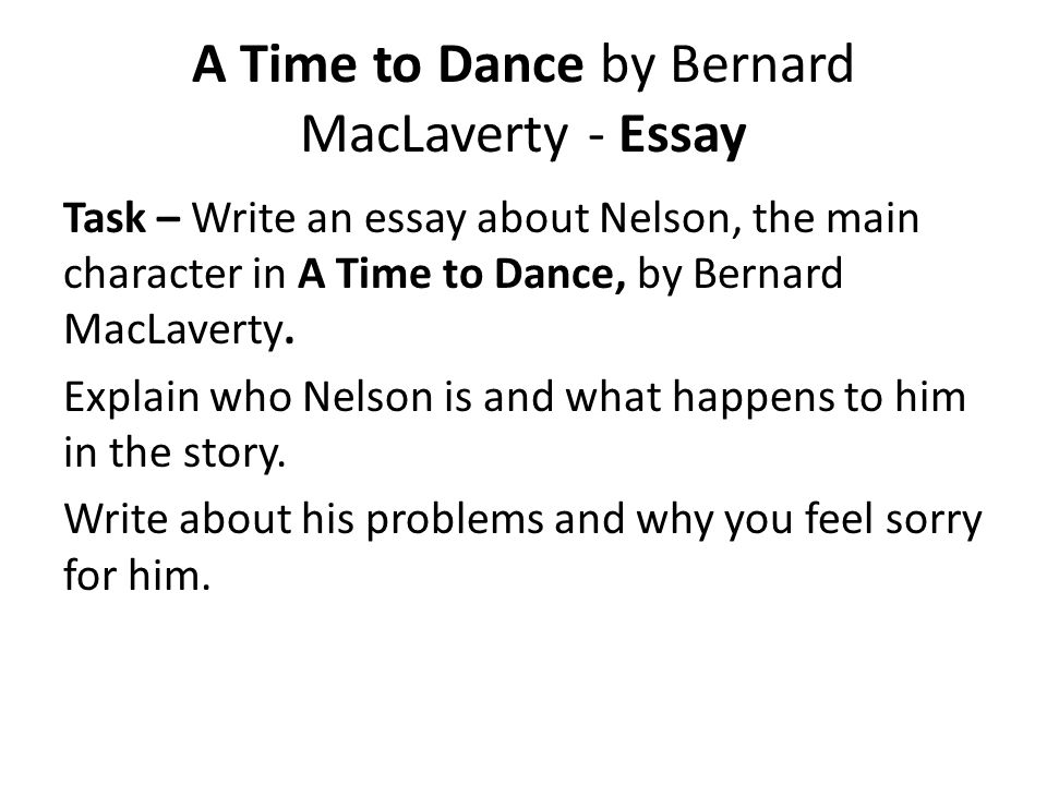 A Time to Dance by Bernard MacLaverty - Essay