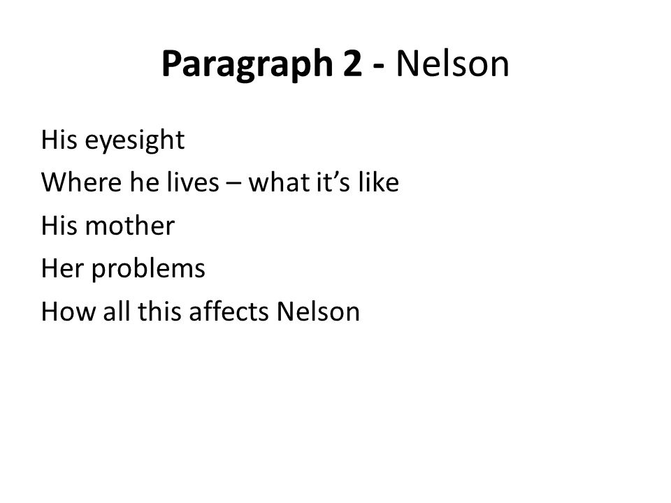 Paragraph 2 - Nelson His eyesight Where he lives – what it's like