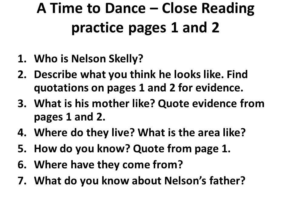 A Time to Dance – Close Reading practice pages 1 and 2