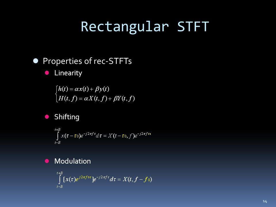 Rectangular STFT Properties of rec-STFTs Linearity Shifting Modulation