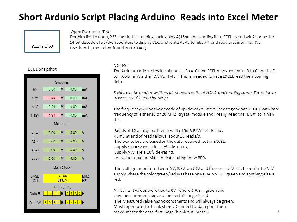 Short Ardunio Script Placing Arduino Reads into Excel Meter