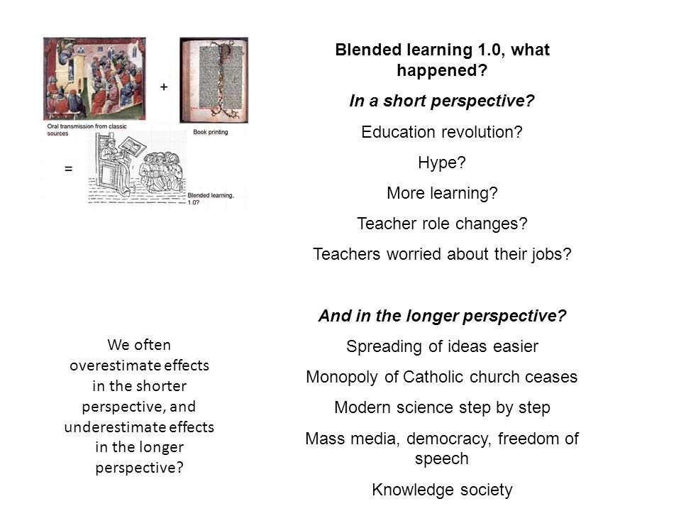 Blended learning 1.0, what happened And in the longer perspective