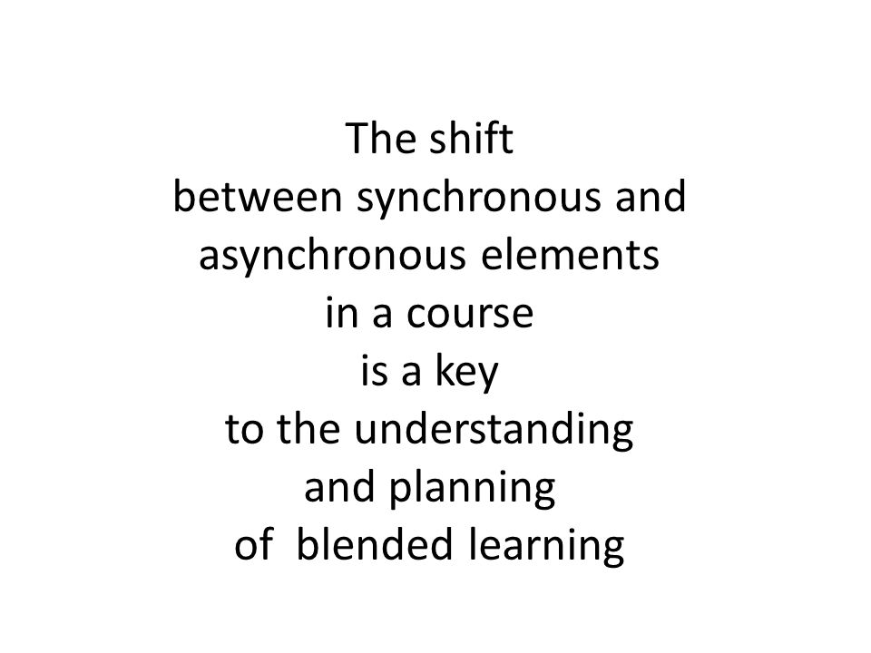 The shift between synchronous and asynchronous elements in a course is a key to the understanding and planning of blended learning