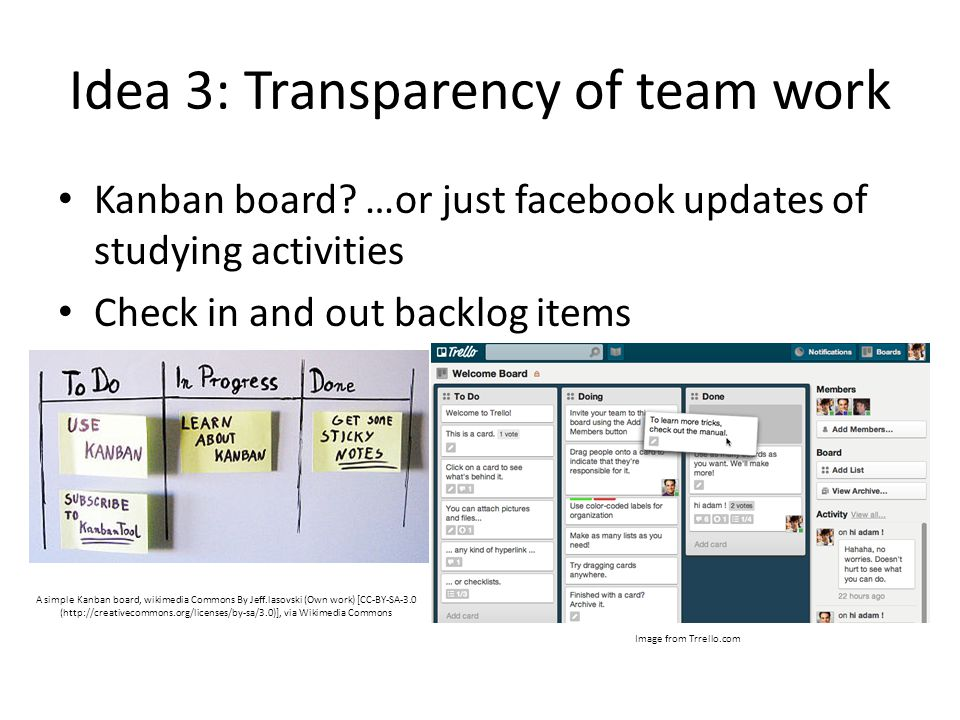 Idea 3: Transparency of team work