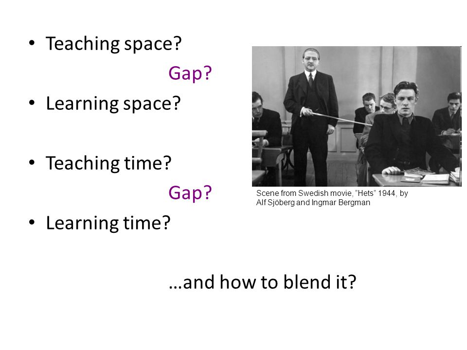 Teaching space Gap Learning space Teaching time Learning time